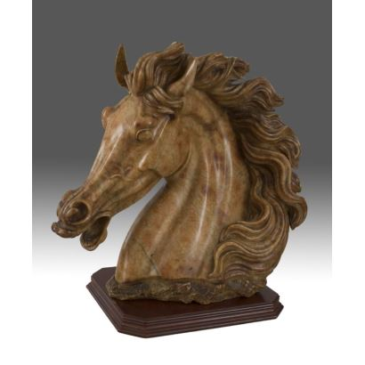 """Beautiful sculpture carved impeccably in marble, neoclassical taste """"Horse Head"""" 48x50cm"""
