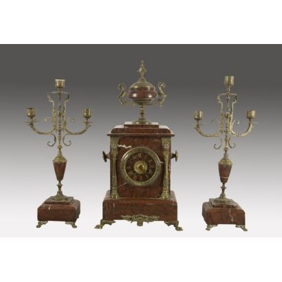 Table clock with candlestick lining, end S. XIX.
