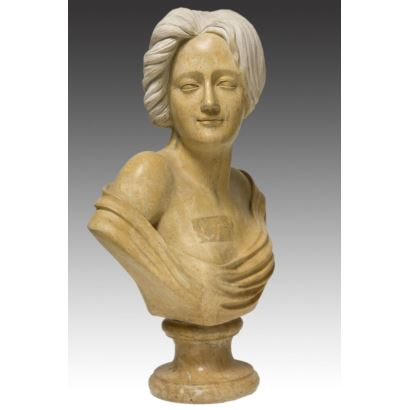 """Bust carved in marble of modernist style. s.XX. """"Lady's portrait"""". Measures: 39x20x58cm."""