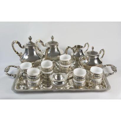 Juego de café y té en plata Pedro Durán, S. XX.