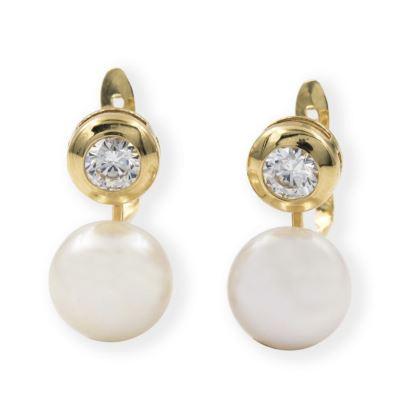 Pendientes de oro amarillo con perlas
