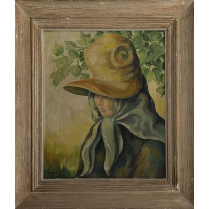 """20th century painting. Oil on panel. """"Portrait of woman with great headdress"""". Signature in lower left corner: P.Bugallal. Measures: 60x55cm s / m 45x40cm."""