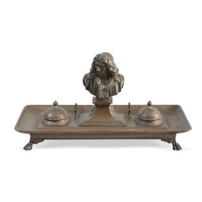 Bronces. Escribanía de bronce, Fundición Barbedienne, finales del S. XIX.