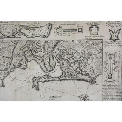 Grabado Plan de la Baye el Ville de Cadis