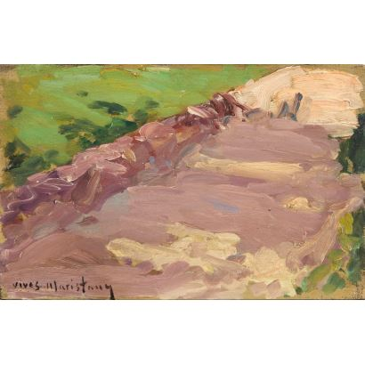 oil on panel, landscape scene where the central motif is a path. Signed: Vives Marestany. 20x12cm