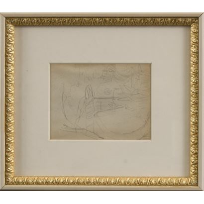 "MEIFRÉN Y ROIG, Eliseo (Barcelona, 1859-1940). Pencil drawing on paper. ""Landscape"". 25x22cm s / m 10x12,5cm."