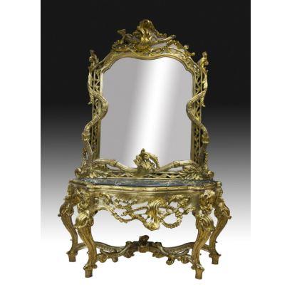 Espejo y consola estilo rococó, siglo XX.