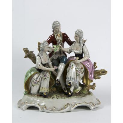 Porcelana. Conjunto en porcelana española, S. XX.