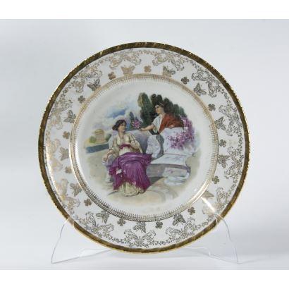 Plato en porcelana de Santa Clara, S. XX.