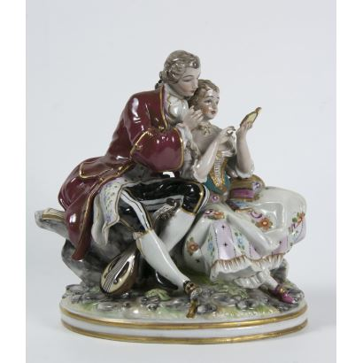 Center in German porcelain, ppios. S. XX.
