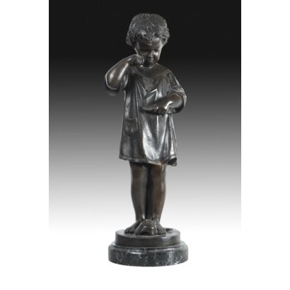 Figure in patinated bronze, 20th century.