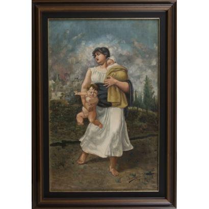 Óleo sobre lienzo. Mujer huyendo de un incendio con sus dos hijos pequeños. Firmado y fechado en ángulo inferior derecho