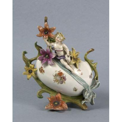 Florero en cerámica esmaltada, ppios. S. XX.