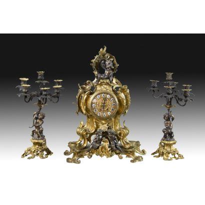 Table clock Louis XV style, 19th century.