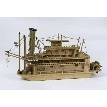 Objetos. Maqueta de barco de vapor
