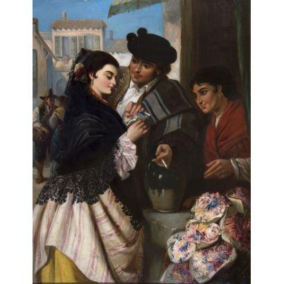 Pintura del siglo XIX. Robert Kemm (Inglaterra, 1837 – 1895).