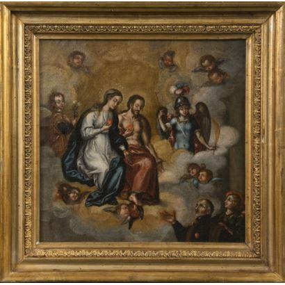 Escuela colonial, S. XVII. Óleo sobre lienzo. Representa una visión celestial donde observamos a Jesucristo y la Virgen con varios ángeles y la figura del donante en la parte inferior acompañado por otro ángel. 37x37cm/28x28cm