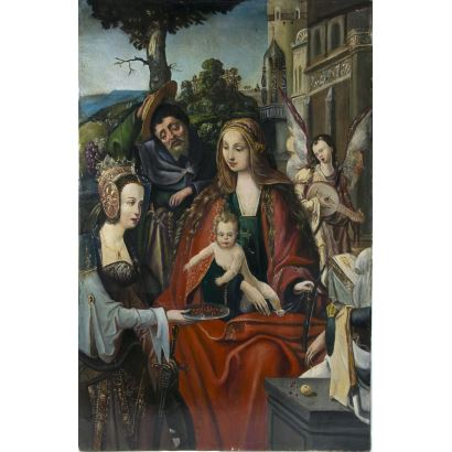 Following models of the MASTER OF ADORATION OF ANTWERES (active in Antwerp in the first third of the 16th century).