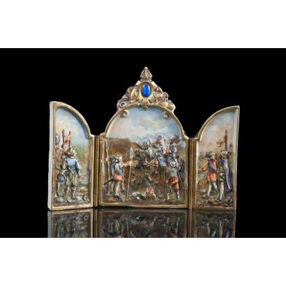 Triptych in porcelain from Potschappel, ffs. XIX.