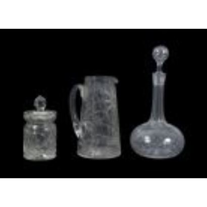 Set of pieces in glass, ppios. S. XX.