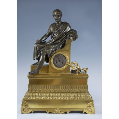 Watches. French table clock, S. XIX.