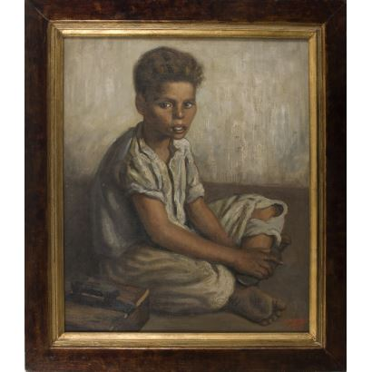 Pintura del siglo XX. ADOLFO MONCLÚS DURANGO (1900-?) Niño limpiabotas sentado. Firmado en ángulo inferior derecho A.MONCLÚS, fechado en 1947. 87x76cm/69x57cm