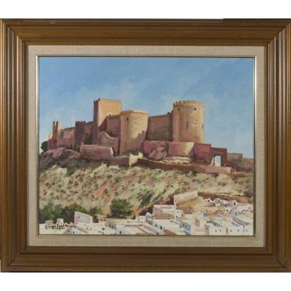 "CARMONA DE LA PUENTE, Manuel (Barcelona, 1916- Malaga, 2001). Oil on canvas. ""City view with castle"". Signature in lower left corner. 76x86cm s / m 53x64cm."