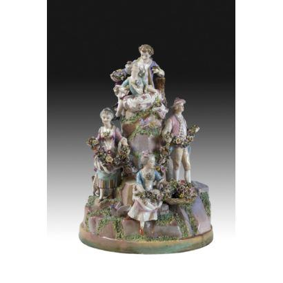 German porcelain sculptural group, S. XIX.