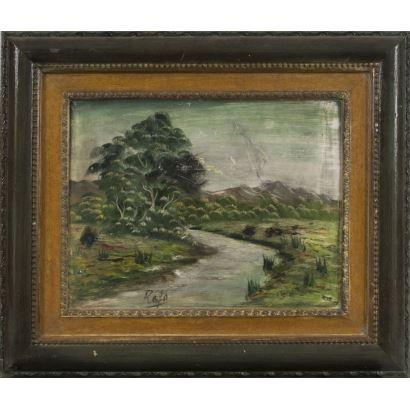 "Oil on tablex. ""Landscape with river"". Signature in the lower left corner: Rafa. Measurements: 51x43cm s / m 42x34cm."