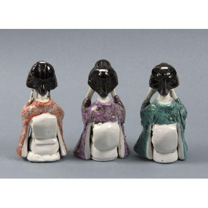 Ceramic figures from Manises, 20th century.