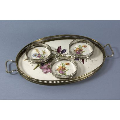 Tray with coasters, Germany, c. 1900.
