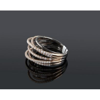 Original ring in white gold and yellow gold rings covered by a row of brilliant H-SIs that add 0.92cts.