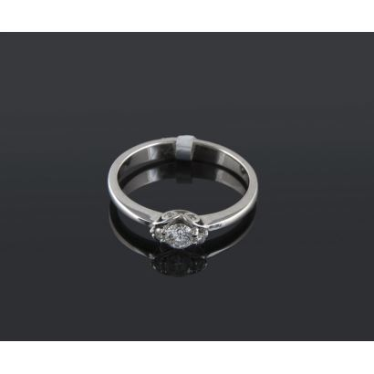 White gold ring and brilliant totaling 0.28 cts.