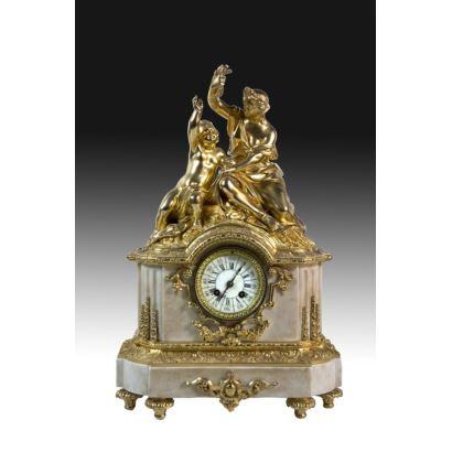 Table clock, Louis XVI style, S. XIX.
