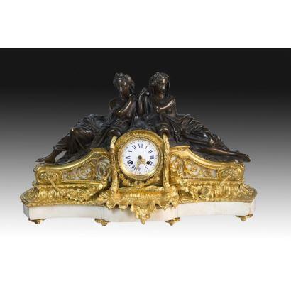 Reloj de sobremesa, estilo Luis XVI, Francia, S. XIX.