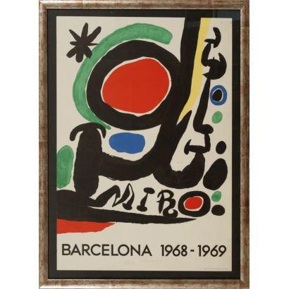 """""""Barcelona 1968-1969"""", Joan Miró. Se trata de un cartel litográfico, que describe y presenta un encuentro cultural. Está enmarcado e impreso por Sadagcolor en Barcelona. Medidas sin marco: 73 x 50 cm."""