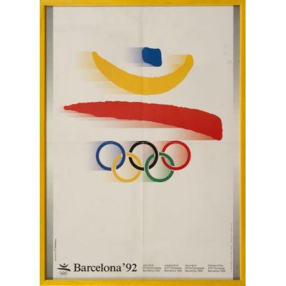 """""""Barcelona´92"""", Joan Miró. Se trata de un cartel litográfico, que presenta los Juegos Olímpicos que se disputaron en Barcelona en el año 92. Medidas sin marco: 50 x 69,5 cm."""
