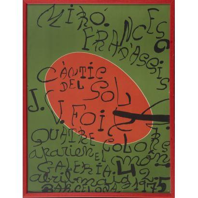 """""""Caántic del sol"""", Joan Miró. Se trata de un cartel litográfico, que describe y presenta un encuentro cultural. Está enmarcado. Medidas con marco: 68 x 52 cm. Medidas sin marco: 65 x 50 cm."""