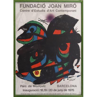 """""""Centre d´Estudis Contemporanis"""", Joan Miró. Se trata de un cartel litográfico, que describe y presenta un encuentro cultural. Aparece firmado por el propio autor en el ángulo inferior derecho. Está enmarcado e impreso por Polígrafa, Barcelona. 70 x 50 cm"""