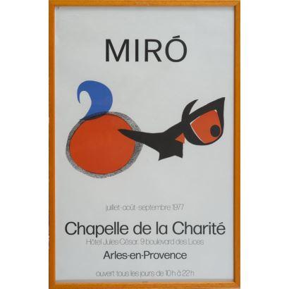 """""""Chapelle de la Charité"""", Joan Miro. Se trata de un cartel litográfico, que presenta una exposición. Está enmarcado e impreso por Arte París. Medidas con marco: 66x44,5cm."""