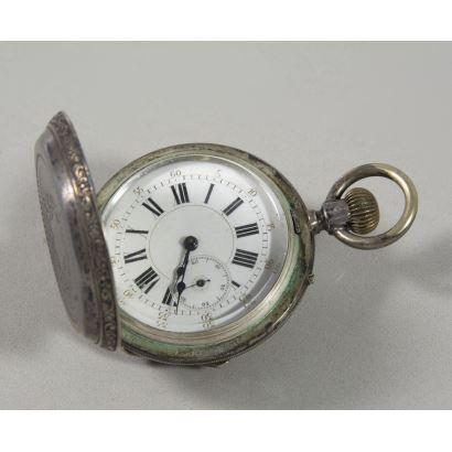 Reloj de bolsillo suizo en plata.