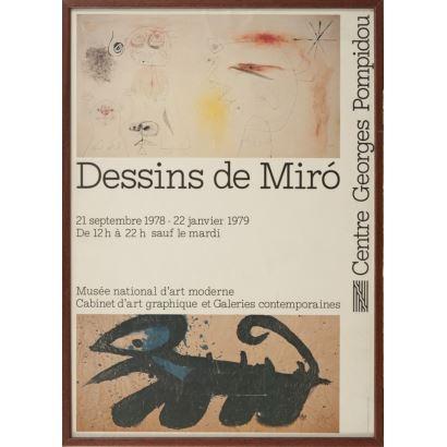 """""""Dessins de Miro"""", Joan Miró. Cartel litográfico, que presenta una exposición de arte gráfico (del 21 de septiembre de 1978 al 22 de enero de 1979) en el Museo Nacional de Arte Moderno."""