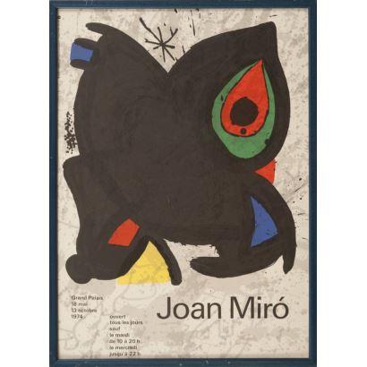 """""""Joan Miro"""", Joan Miró. Se trata de un cartel litográfico, que presenta una exposición del 18 de mayo al 13 de octubre de 1974. Está enmarcado e impreso por Arte París. Medidas sin marco: 43 x 60 cm."""