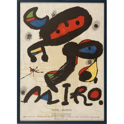 """""""Joan Miró"""", Joan Miró. Se trata de un cartel litográfico, que pertenece al Ministerio de Artes culturales, y presenta una exposición. Está enmarcado e impreso por Arte París. Medidas: 45,5 x 62 cm"""