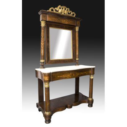 Consola con espejo fernandina, S. XIX.