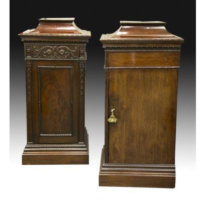 Pareja de pedestales ingleses, S. XIX.