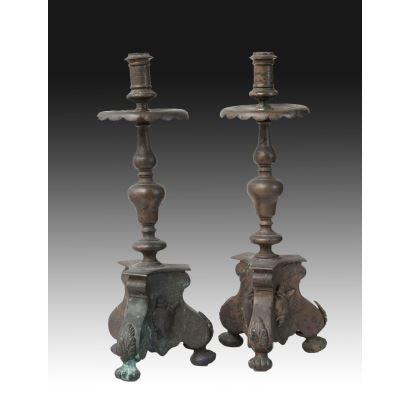 Pair of altar candlesticks, 17th century.