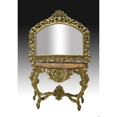 Consola con espejo, S. XIX.