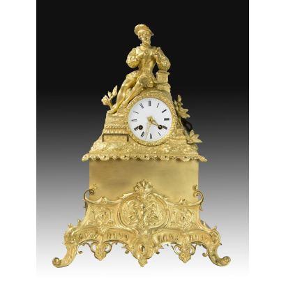 Relojes. Reloj de sobremesa estilo Luis Felipe, S. XIX.