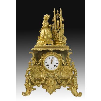 Table clock, Luis Felipe style, S. XIX.